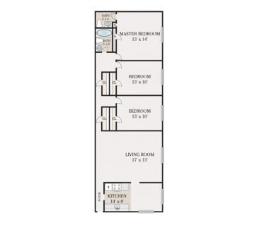 3 Bedroom 2 Bathroom. 1075-1100 sq. ft.