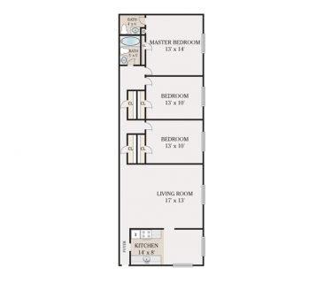 3 Bedroom 2 Bathroom. 1075-1100 sq. ft.
