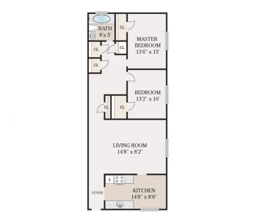 2 Bedroom 1 Bathroom. 935-960 sq. ft.