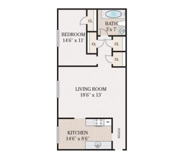 1 Bedroom 1 Bathroom. 675-700 sq. ft.